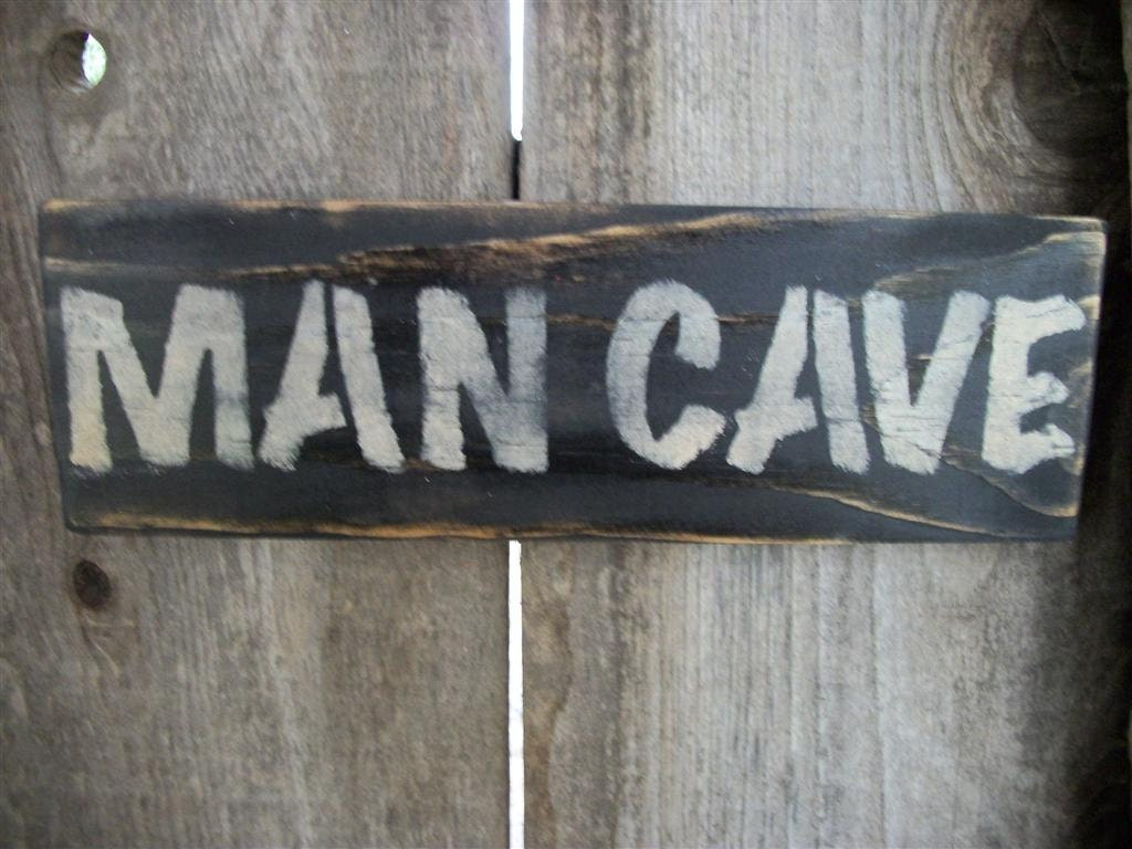 Rustic Man Cave Sign : Man cave sign black distressed rustic primitive by