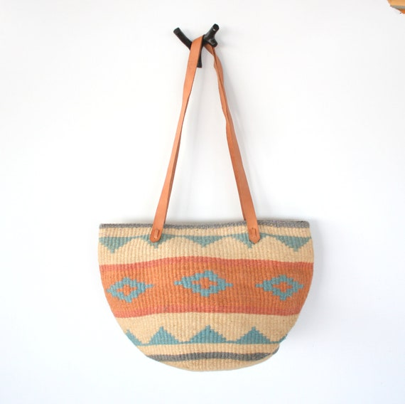 Vintage TRIANGLE Print Jute Woven Bag