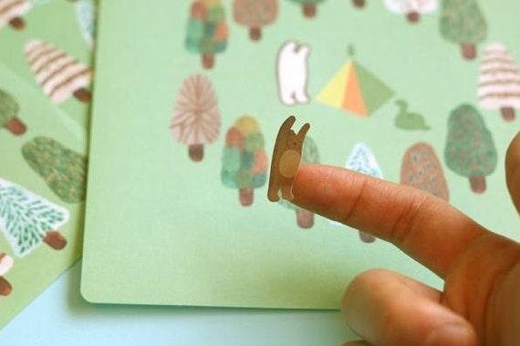4 pieces paper sticker -- green forest