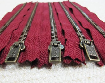 7inch - Maroon Red Metal Zipper - Brass Teeth - 5pcs