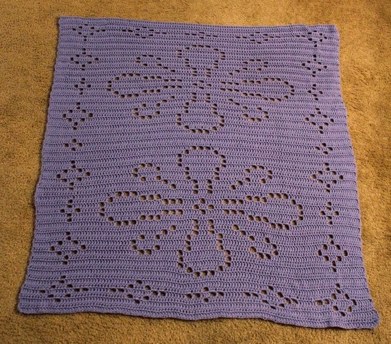Crochet Patterns Lap Blankets : Crochet Pattern Decorative Flower Lap Blanket by ColorMeCrochet