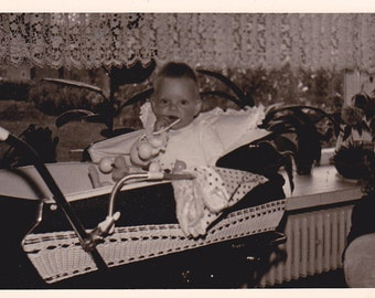 Baby in a Carriage - Vintage Photograph (LL) Vernacular, Black and White, Ephemera