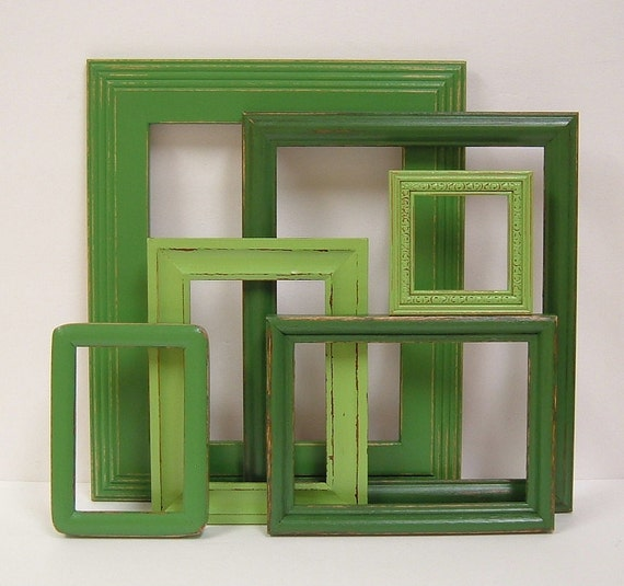 Shabby Chic Frames Distressed Picture Frames Set Green Gallery Home Decor