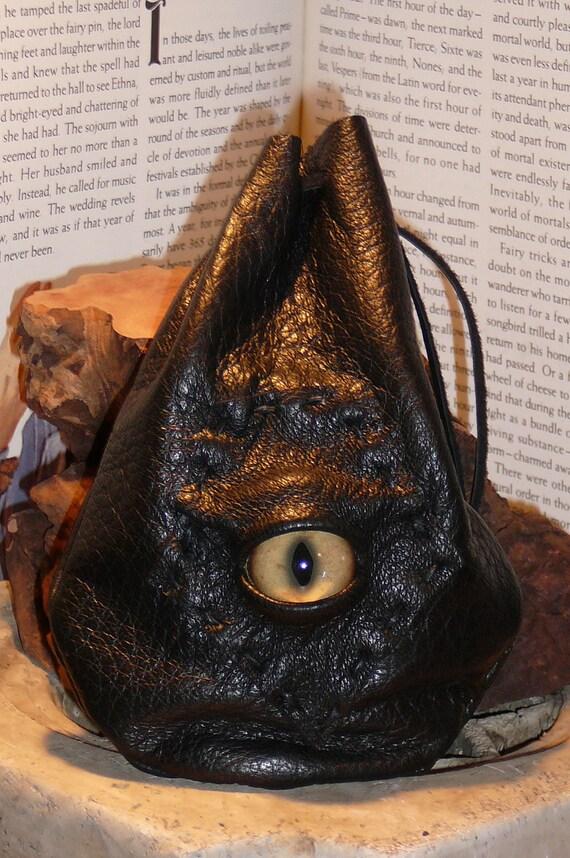 Dragon eye dice bag (Black  leather with Tan eye)