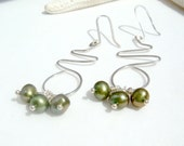Olive Green Earrings with Sterling Silver and Freshwater Pearl, Modern Geometric, Fall Fashion