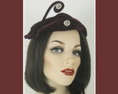 1940s Hat : Whimsical Wine Velvet w/ Whirly Flourish - Rhinestone and Pearl Baubles - Fabulous Forties Flair