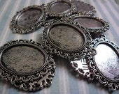Antique silver plated cameo settings 18x25