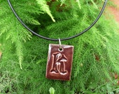 "Kiln-Fired Stoneware Clay Rectangular Letter Pendant & Cord Necklace - ""K"" Chocolate Brown"