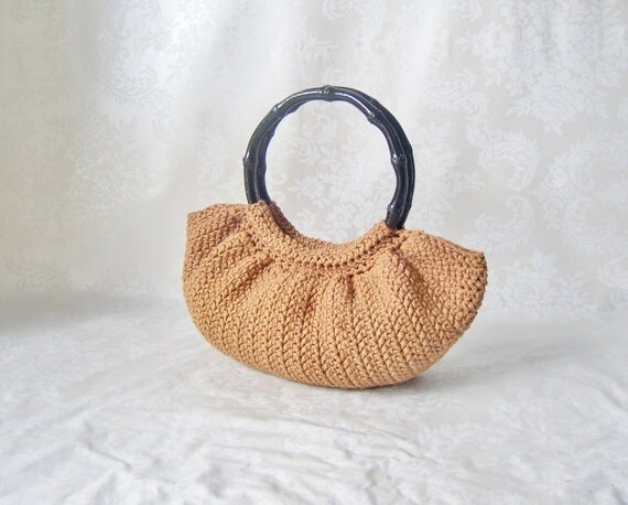 Crochet Handle For Purse : Crochet Purse, Purse with Handle, Brown Purse, OOAK Crochet Handbag ...