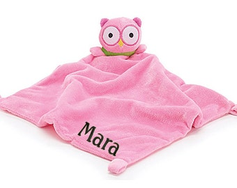 PERSONALIZED Infant Baby Security Snuggly Blankie Pink Owl