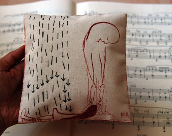 Hand stitched and hand painted art pillow