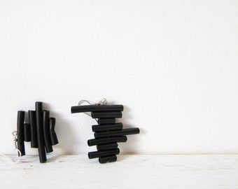 Black rubber earrings - minimalist dangle earrings geometric stripes summer jewelry