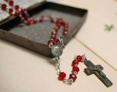Antique French red faceted glass beads rosary