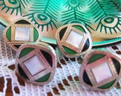 Gatsby Green Light Art Deco Guilloche Enamel Cuff Links