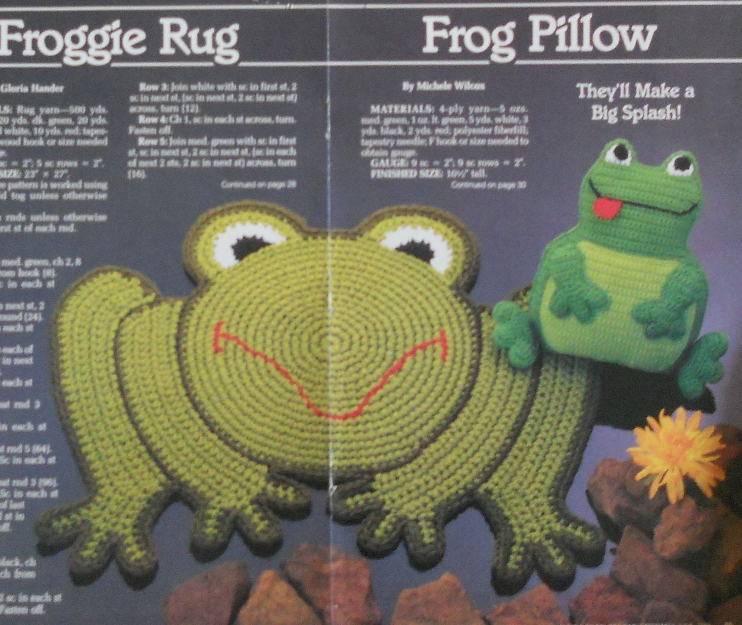 Froggie Pillow Frog Rug Crochet Pattern