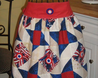Quilted Patriotic Adult Reversible Waist Apron