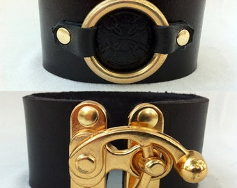 Leather Bracer / Bracelet with Metal Swing Clasp Steampunk Renaissance Pirate