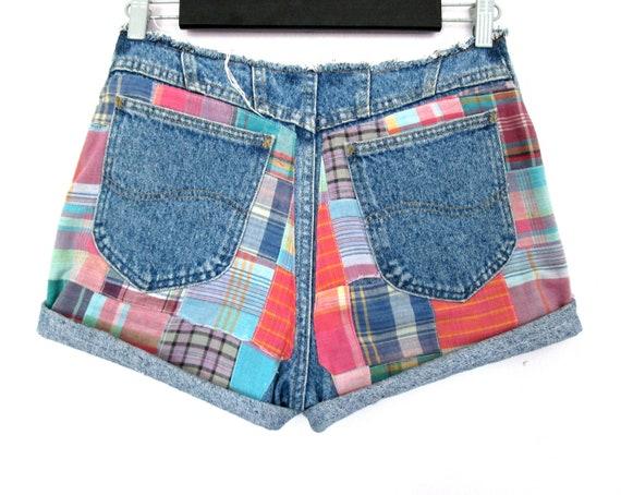 "90's High rise Lee patchwork denim shorts size - M  30""waist"