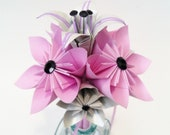 Petit Paper Flowers and Lilies bouquet- 5 inch, toss, jr bridesmaid, bridesmaid, handmade, origami, one of a kind, destination wedding