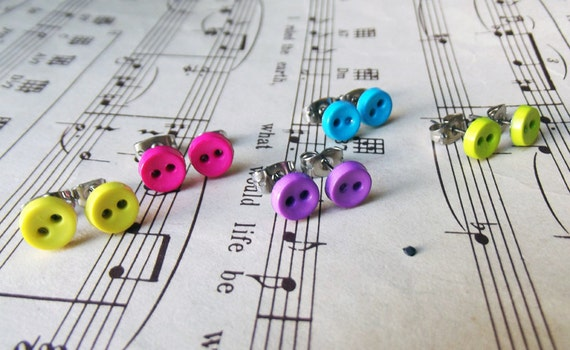 Mini Button Earring Set - Tiny Buttons in 5 colors - Sunshine Yellow, Cotton Candy Pink, Aqua Blue, Lime Green, and Lavender Purple