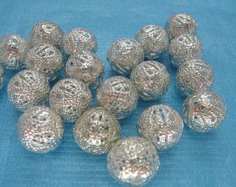 20 Pcs Silver Tone Filigree Ball Beads 12mm