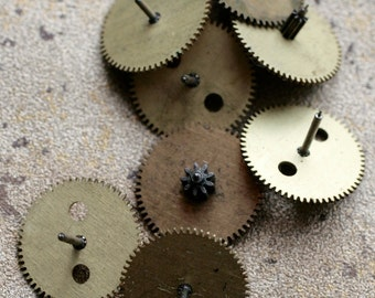 Vintage selection of assorted clock gears  -- set of 8 -- D6