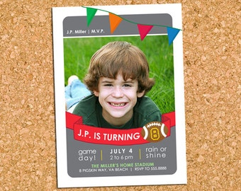 Boys Football Birthday Party Photo Invitation, Sports Trading Card Party Invite - DiY Printable, Print Service Available || Football Gameday