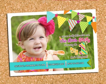 Colorful Birthday Party Photo Invitation, Happy Birthday Party Invite, Girl First Birthday Invite - DiY Printable || Bright Birthday Spirit