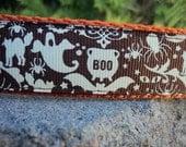 "Sale Halloween Dog Collar 1"" wide Side Release adjustable buckle Boo - choose webbing color"