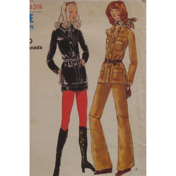 """Easy Rider Cuffed Shorts, Flared Pants, Shirt Jacket Pattern, Vintage 1970s, Miss Vogue No. 8123 Size 8 Bust 31.5"""" 80cm"""