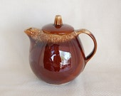 Vintage Hull Brown Drip Teapot Ovenproof 5 Cup Roly Poly Cutie Patootie