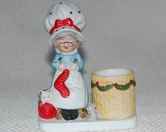 Vintage Christmas 1978 Jasco Granny At Work Hand Painted Porcelain Toothpick Holder Christmas Decor
