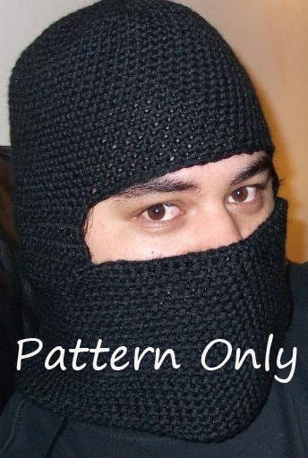Free Crochet Pattern For Ninja Hat : Crochet Balaclava Riding hood Ski Mask Ninja Mask Pattern