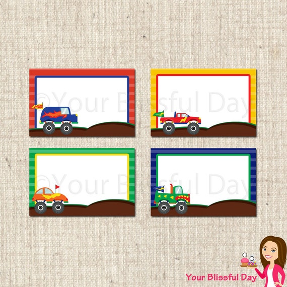 PRINTABLE Monster Truck Label Tents #556