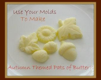 Pat of Butter Autumn Leaf Acorn Mold Mould Resin Clay Fondant Wax Soap Miniature Sweet Flower
