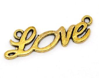 2 Antique Gold LOVE Connector Charm Pendant 32mm Long