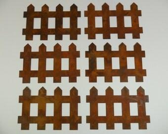 """Rusty Tin Fence 6 Pieces 4 1/2"""" W x 3"""" H"""