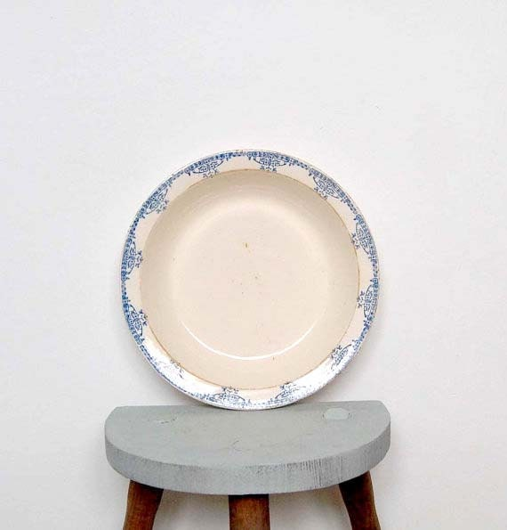 Vintage French Blue and White Bowl