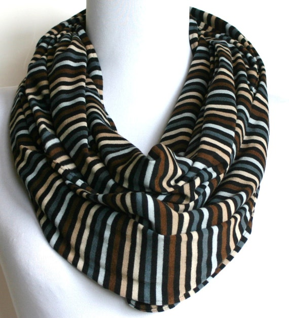 Infinity Scarf in Black, Brown, Blue and Beige Stripes Jersey, Loop Scarf, Eternity Scarf, Circle Scarf