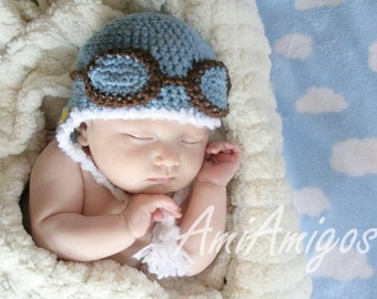 Crochet Blue Aviator Hat (Newborn)