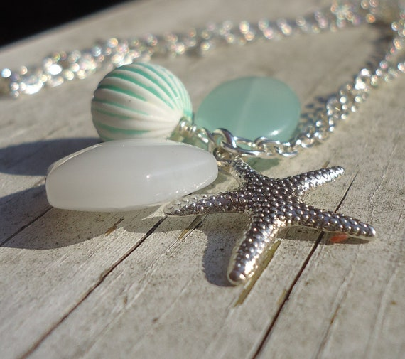 Starfish Charm Necklace - Blue Green Sea Ocean Beach Glass Lucite Silver Long Necklace