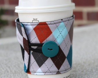 Coffee Cup Cozy / Coffee Sleeve - Reusable - Grey / Earth Tone Argyle - Male Friendly / Masculine Coffee Wrap