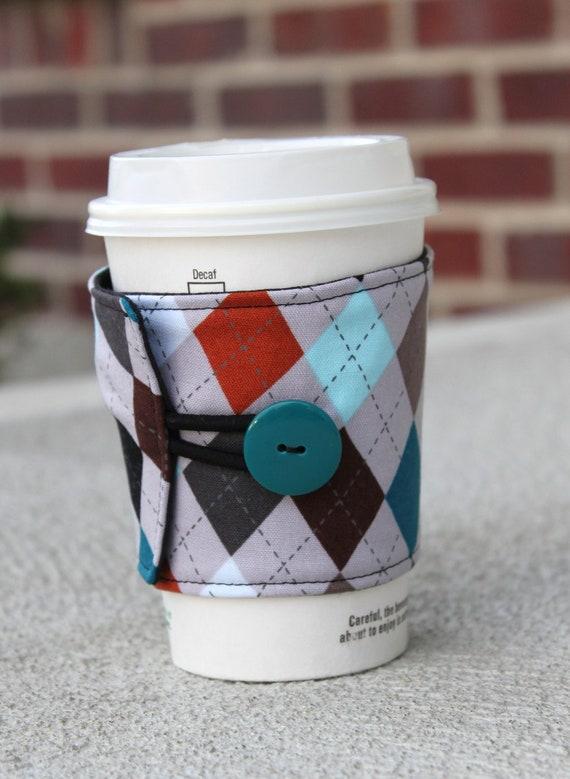 Coffee Cup Cozy / Coffee Sleeve - Reusable - Grey / Earth Tone Argyle - Male Friendly / Masculine Coffee Wrap