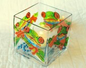 "4x4x4"" Candle Holder - Green Frog - CH-0018"
