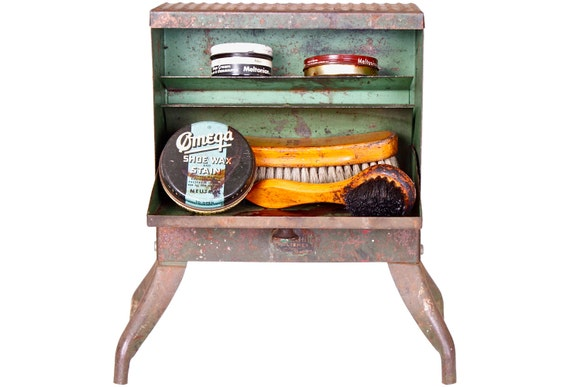 Vintage Shoe Shine Box 1930 Industrial Metal