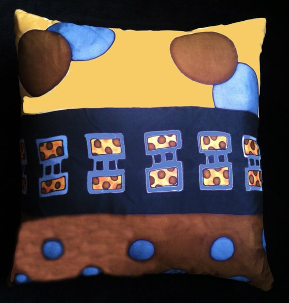 SKY IS FALLING - Hand Painted  Silk Decorative Pillow