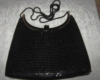 Vintage Steel Mesh Black Evening Bag