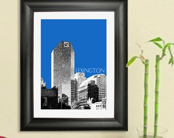 Lexington Skyline Poster -Lexington Kentucky City Skyline - Art Print - 8 x 10 Choose Your Color