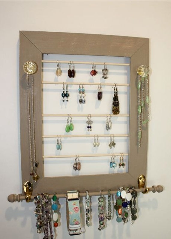 Tan Jewelry Holder Earring Organizer with Jewelry Bar-Clear Glass Knobs.
