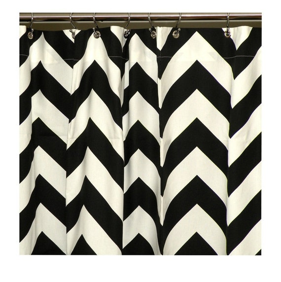 items similar to shower curtain chevron 72x72 black and
